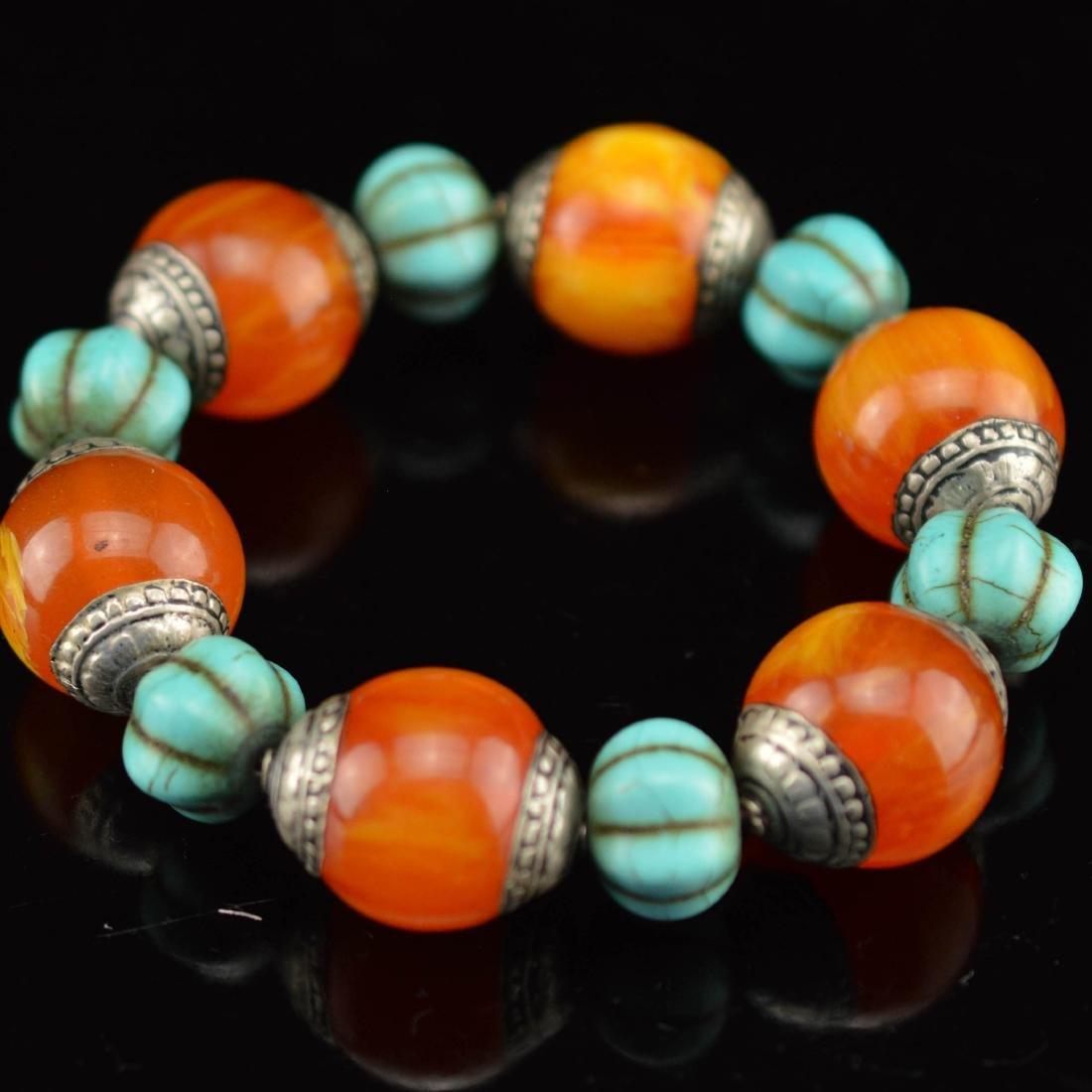 Royal amber turquoise bracelet