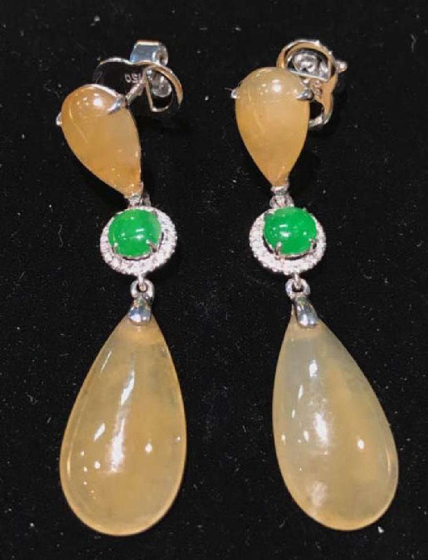 Certified 18K Gold Natural Jade Earring