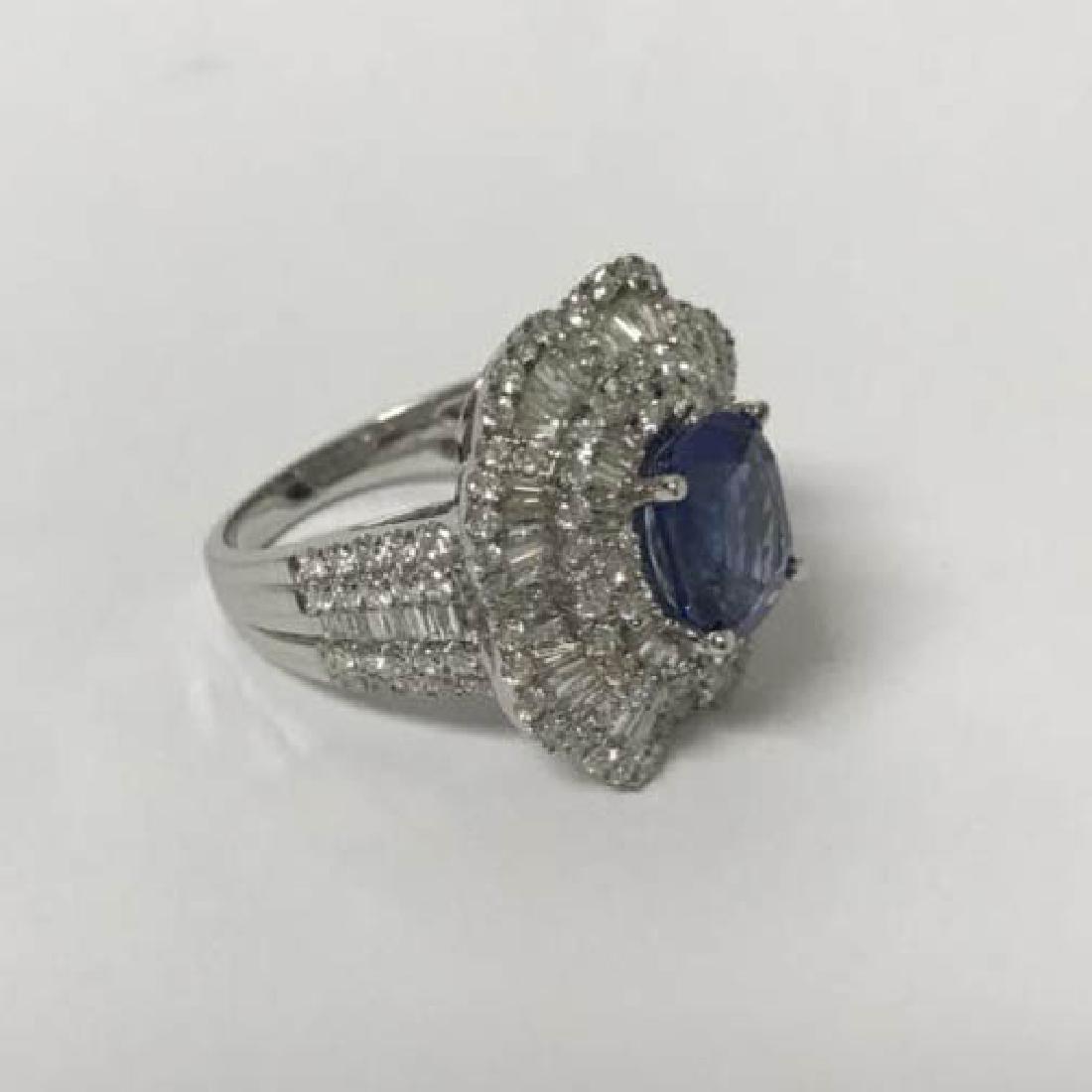 18k gold set diamond 3.48 carat sapphire ring