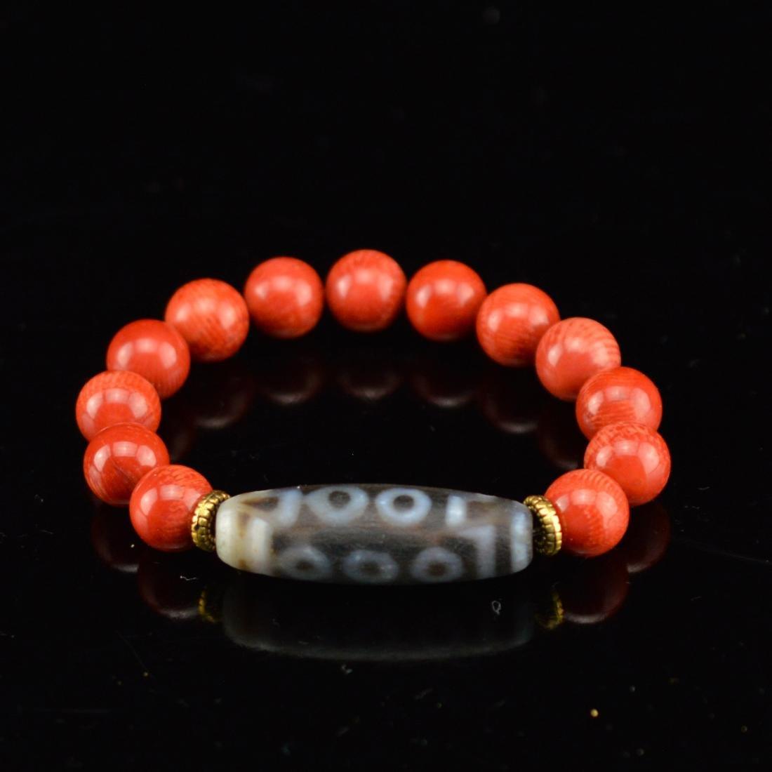 Red coral with ten eyes DZI bracelet