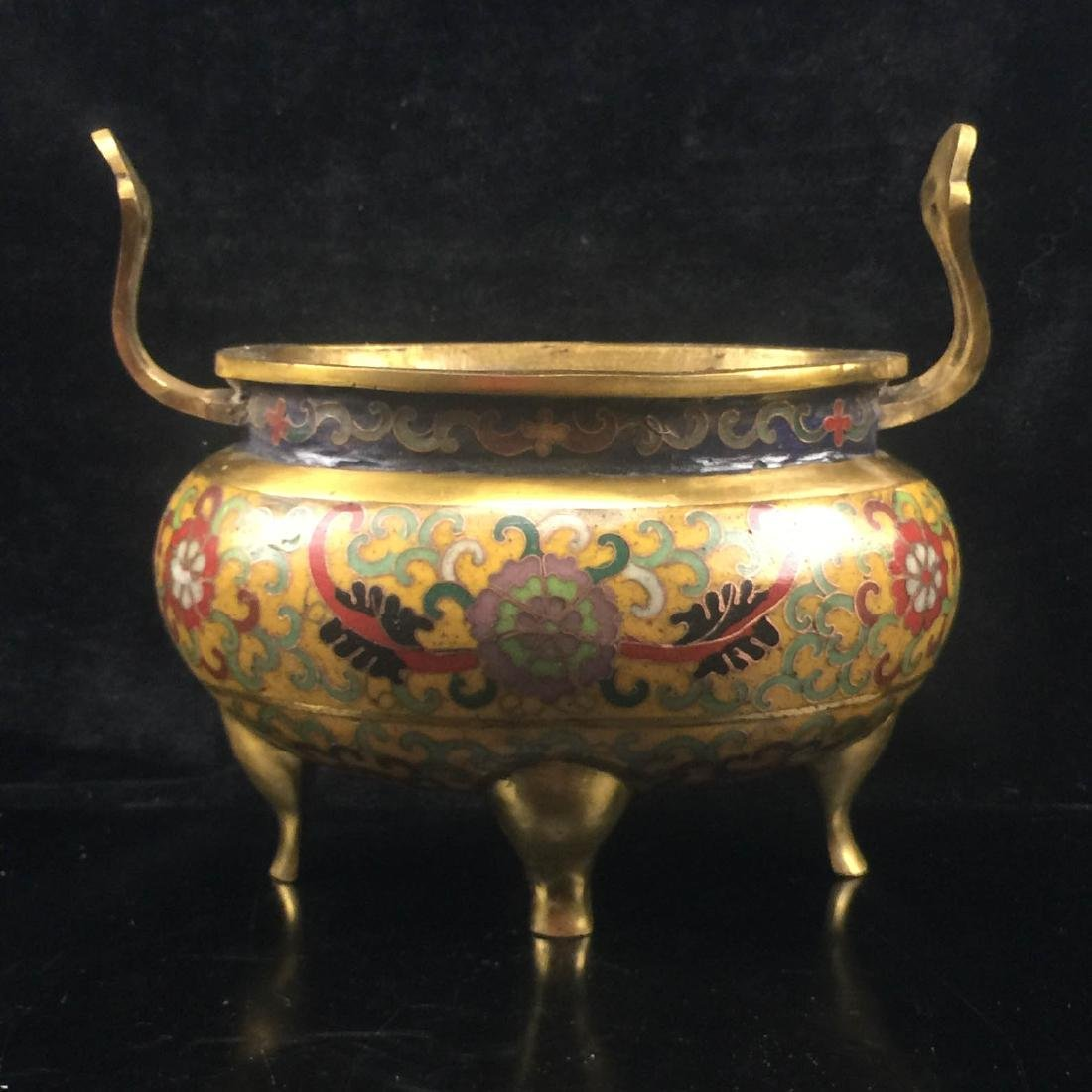 Dual ears Cloisonne Enamel Incense burner
