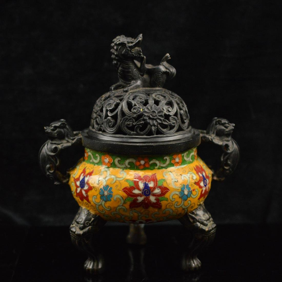 Faience style tripod incense burner