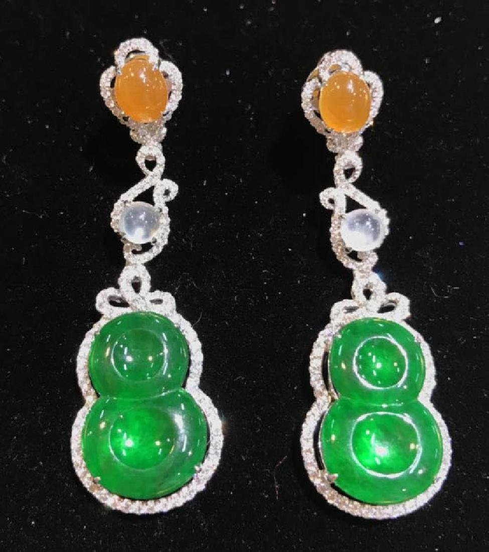 Certified 18K white gold Natural Burma jadeite earring