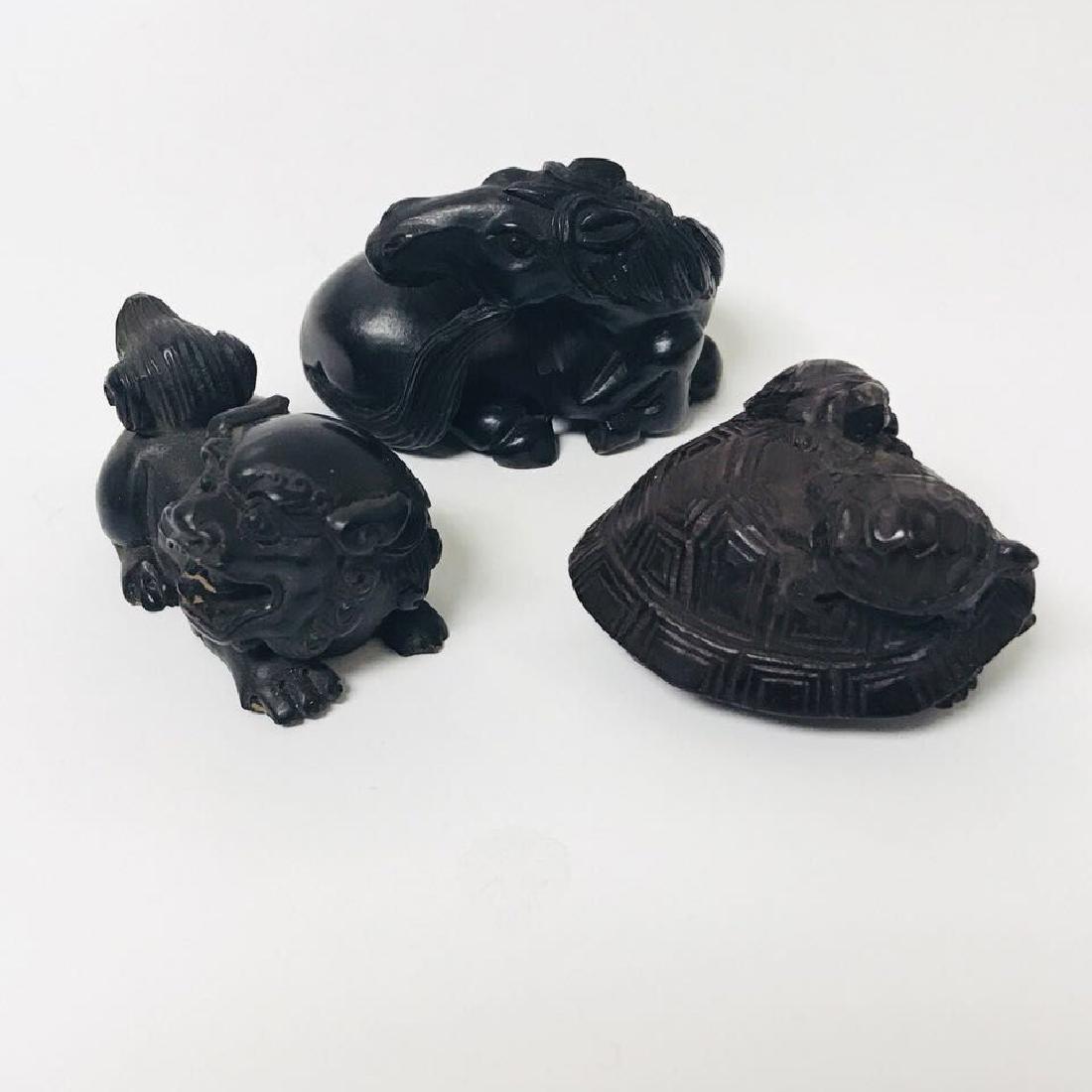 Three Old NETSUKE: Lion;Turtle;Horse