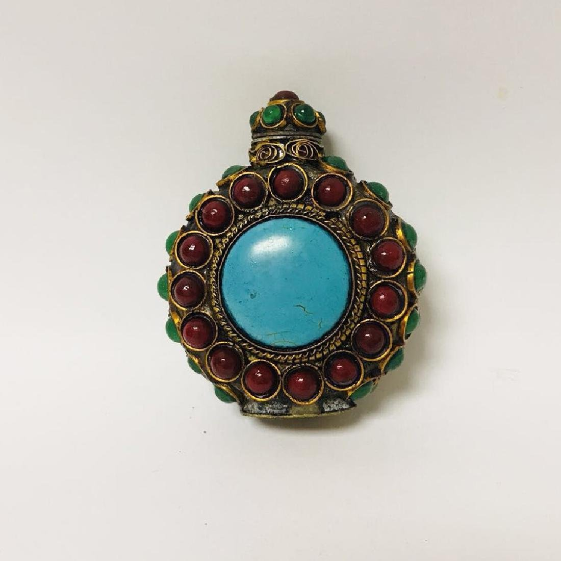 Cloisonne Style Turquoise Snuff bottle