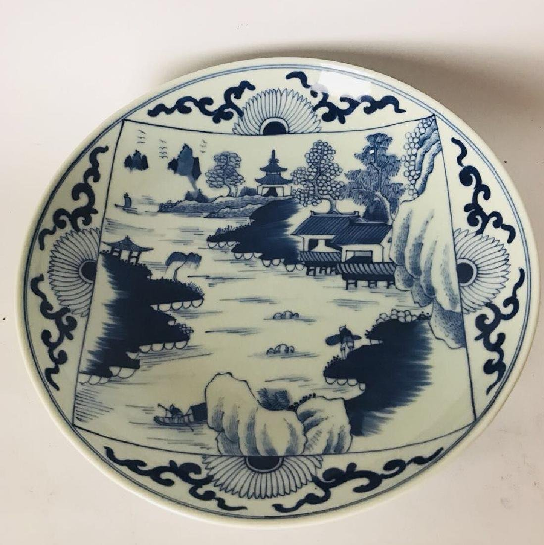 Blue and White Scenary Painted Plate Mark Da Qing