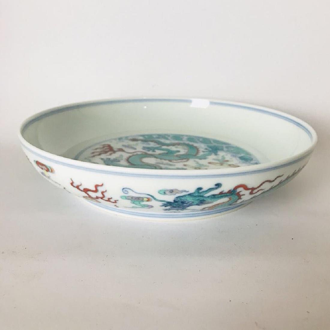 DouCai Porcelain Dragon Plate Mark Da Qing