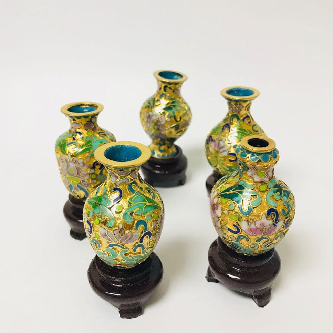 Six Exported Cloisonne Enamel Vase
