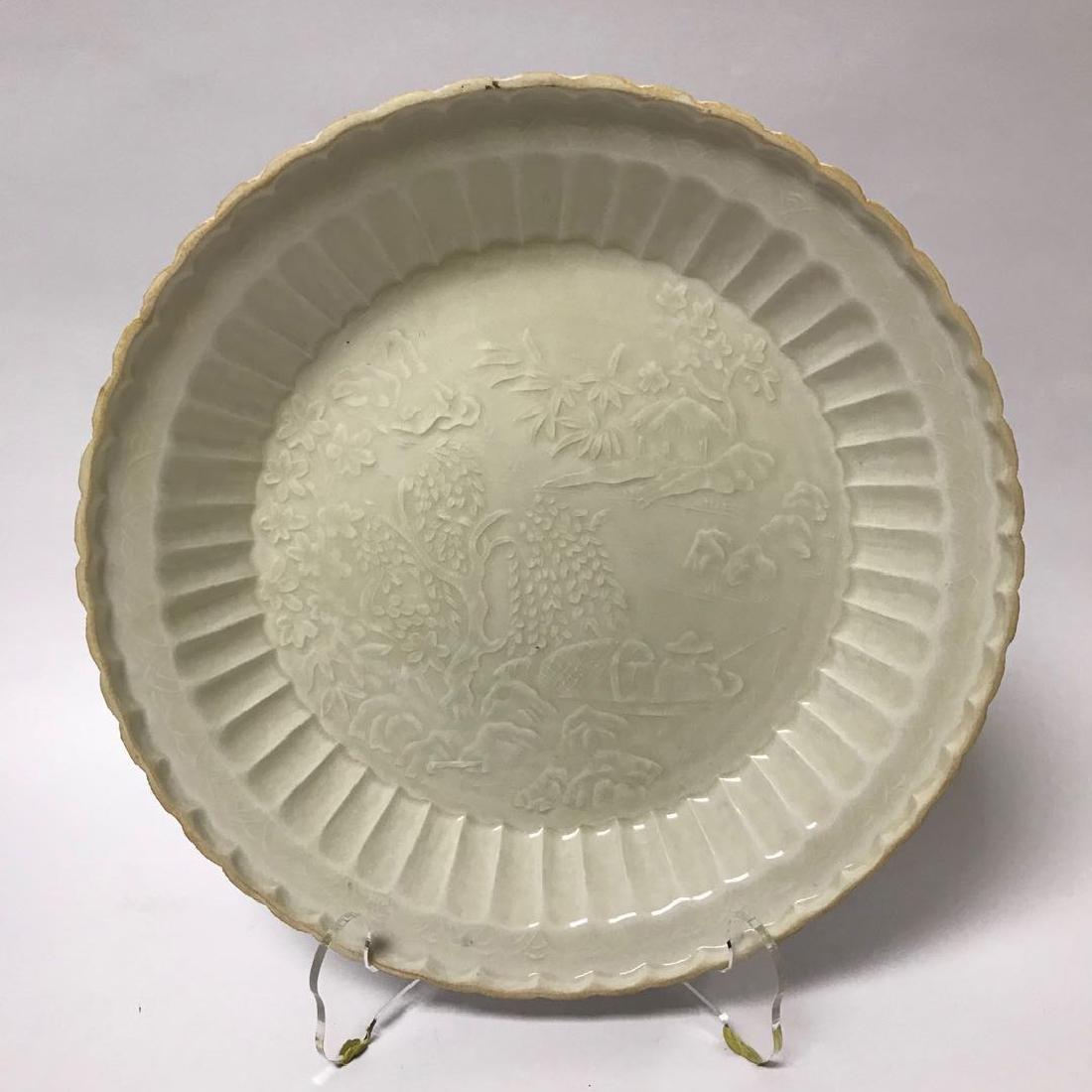 White Underglazed Floral Porcelain Plate