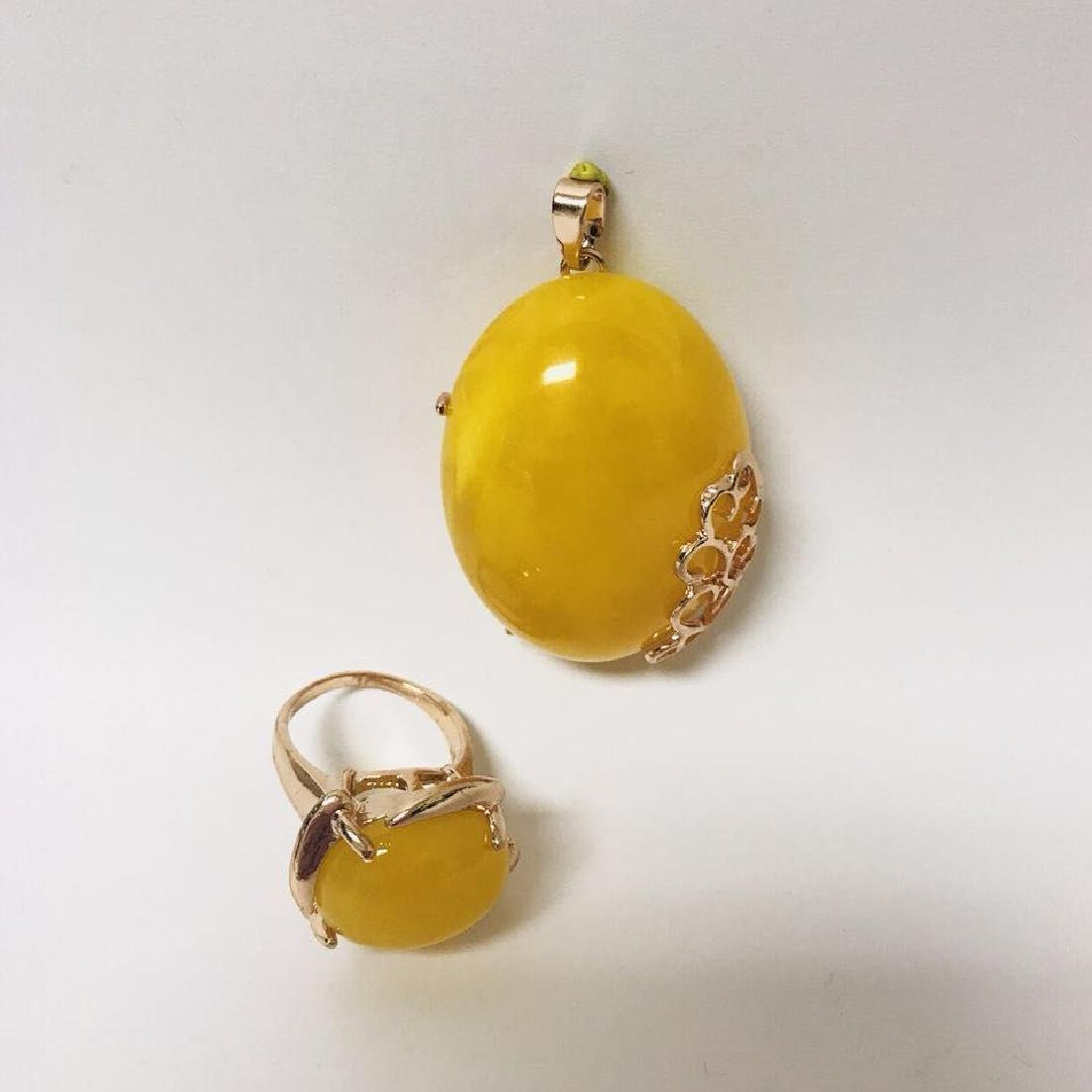 Royal Amber Pendant and rings