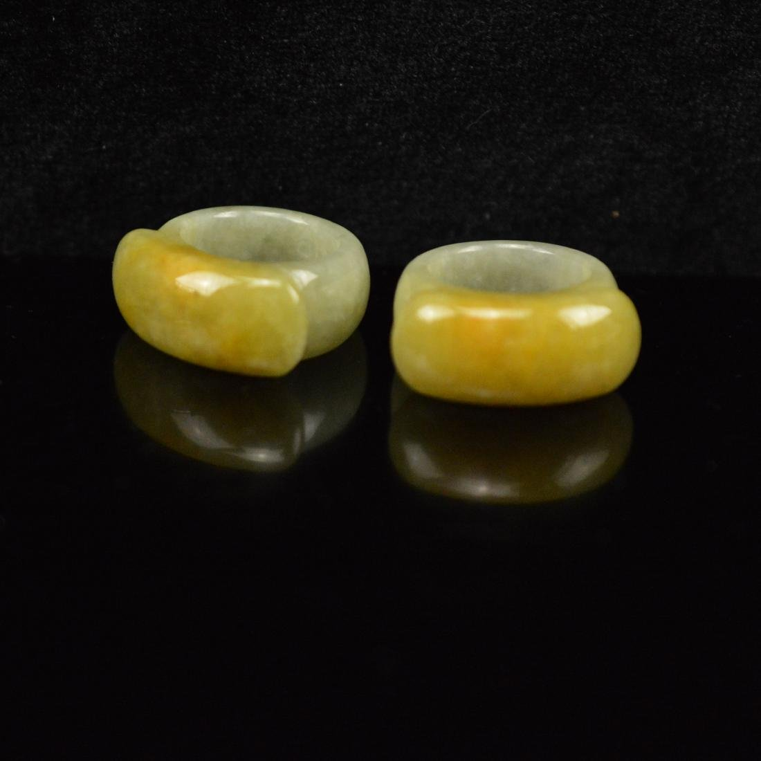 Natural Yellow Jade ring Pairs