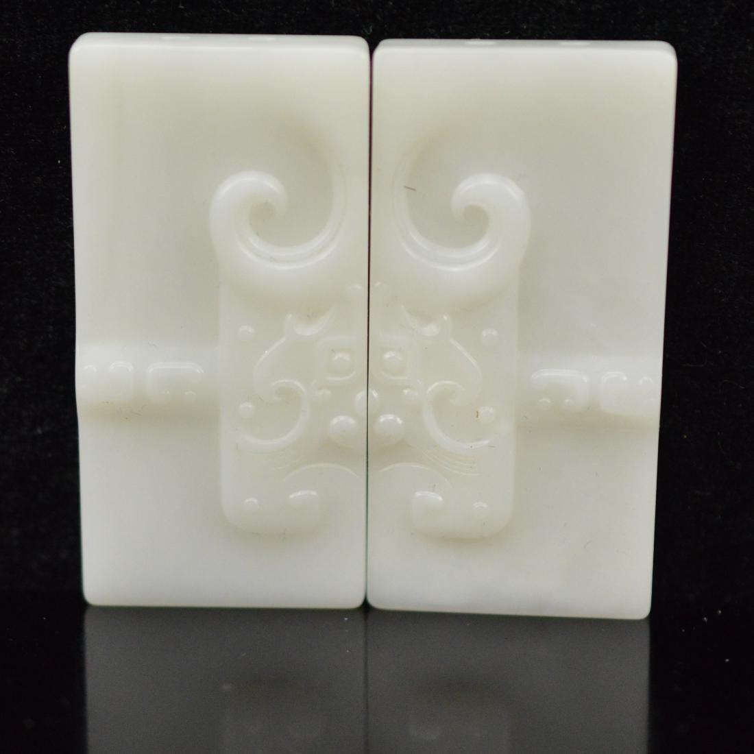 Natural Hetian Jadeite Pendant pairs
