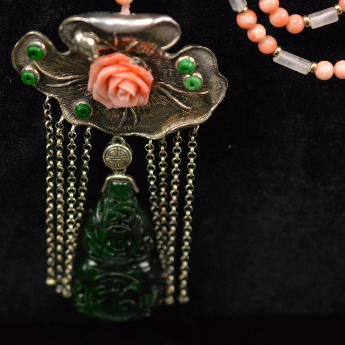 Natural Coral with jadeite silver necklace