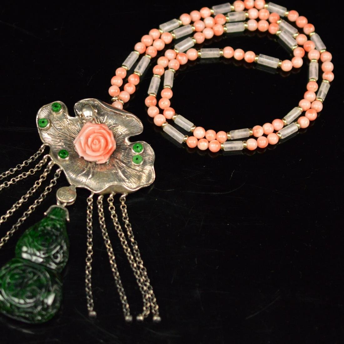 Natural Coral with jadeite silver necklace - 4