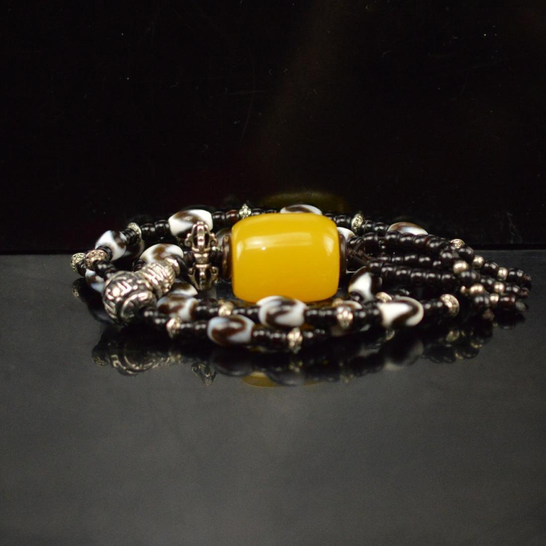 Royal Amber Tigertooth DZI Necklace