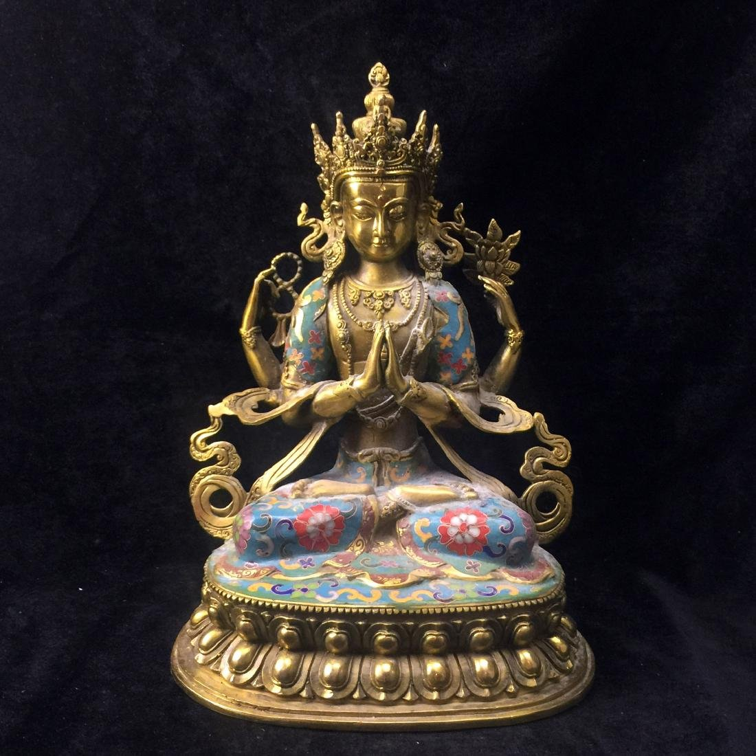 Cloisonne Enamel White Tara Statue