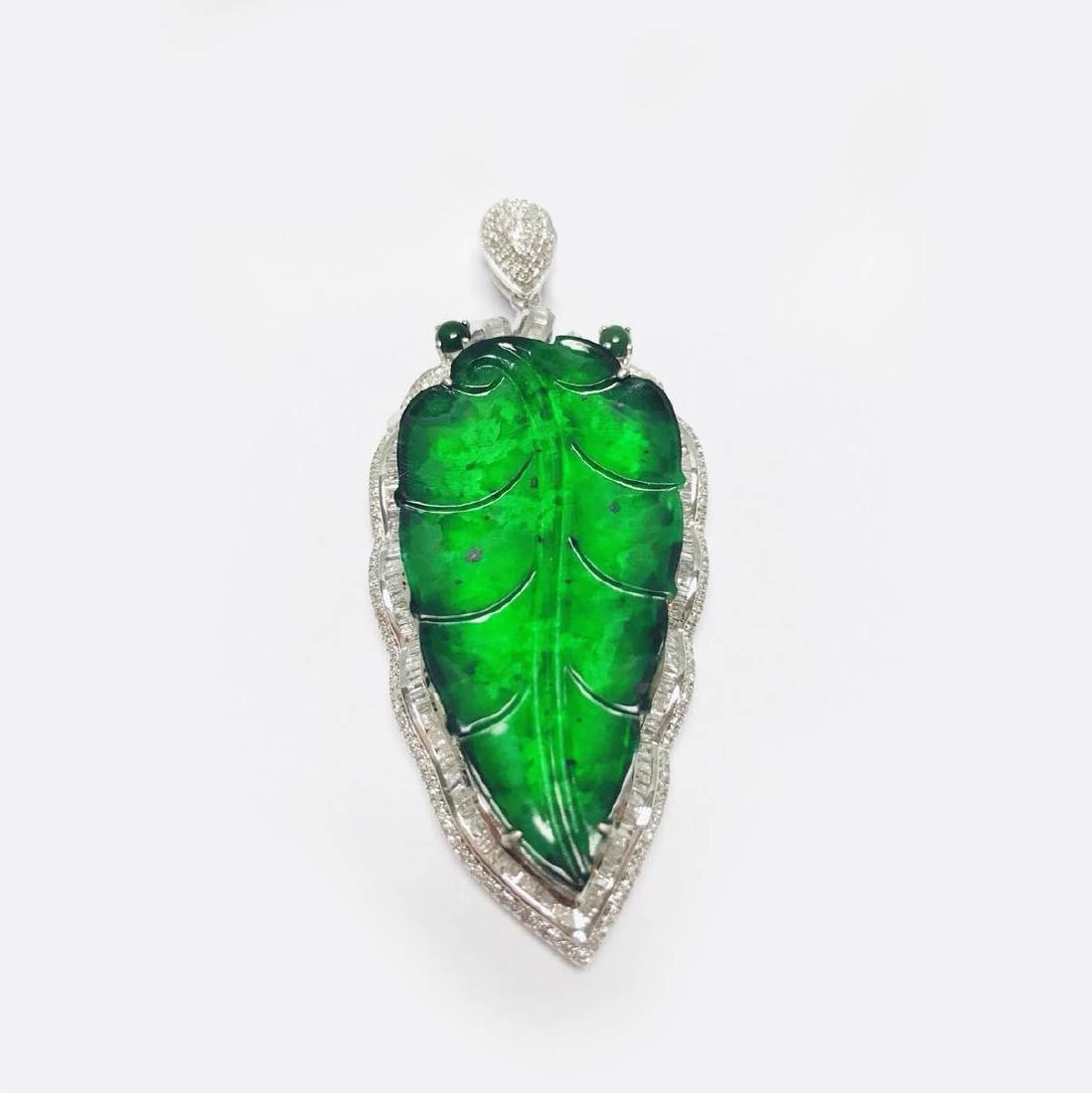 Certified 18K white gold Natural Burma Jadeite leaf pen