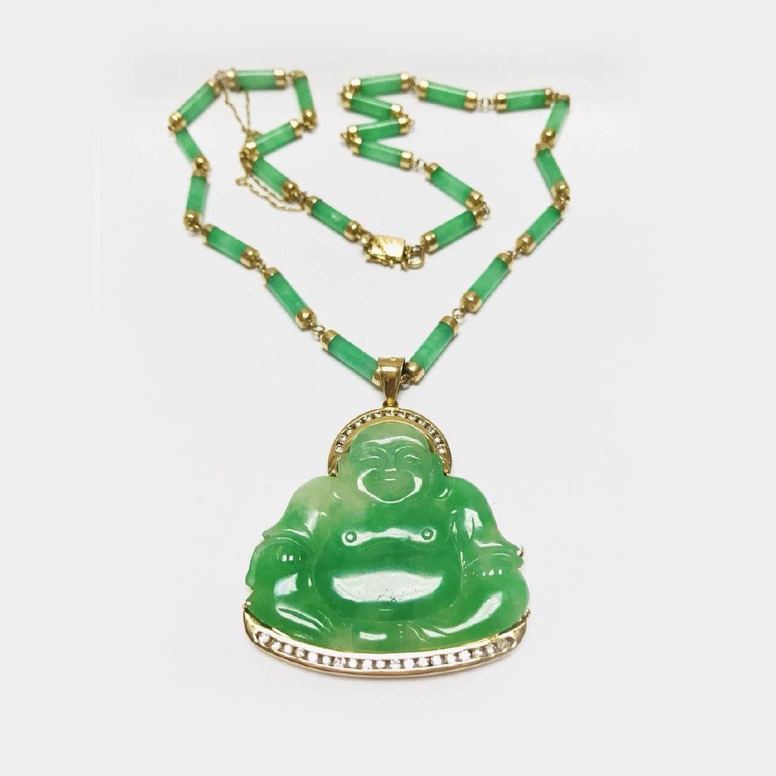 18K Gold with diamond Natural Burma buddha pendant with