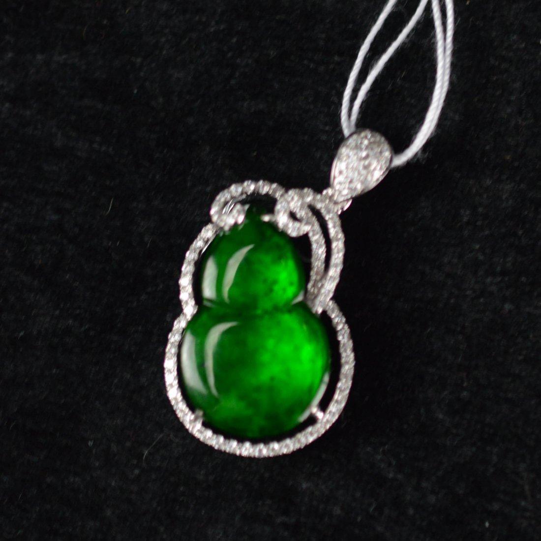 18K White Gold Natural Burma Icy jadeite necklace