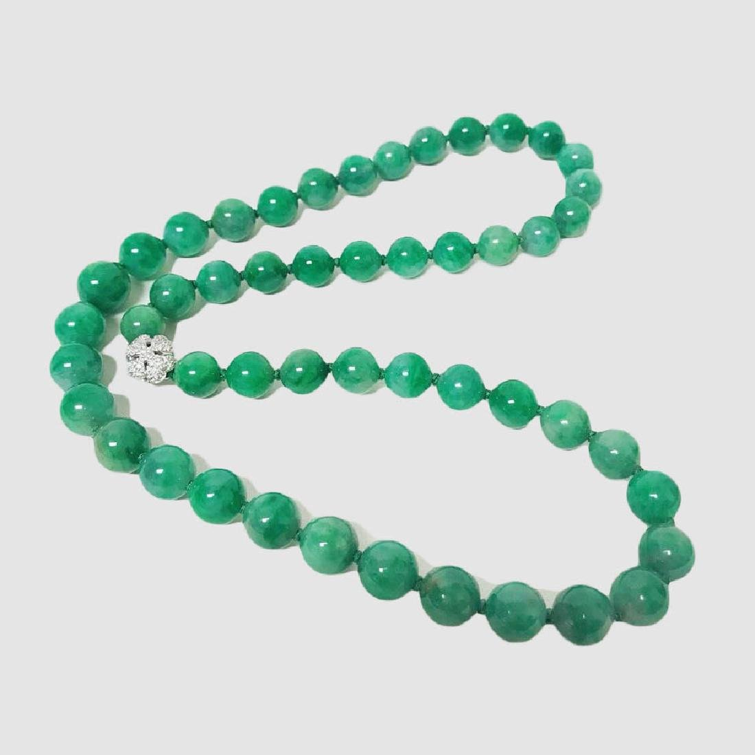 Certified Natural Burma colourless jadeite necklace