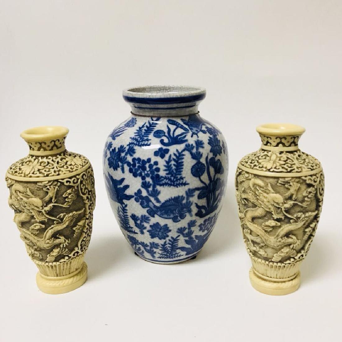 Blue and white Vase and Bone Style Vase