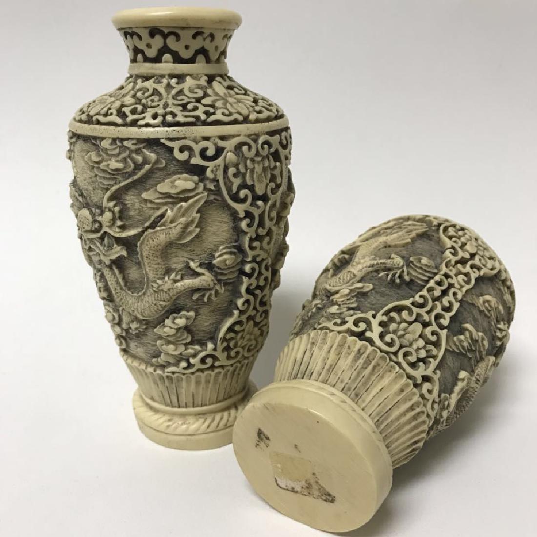 Blue and white Vase and Bone Style Vase - 8