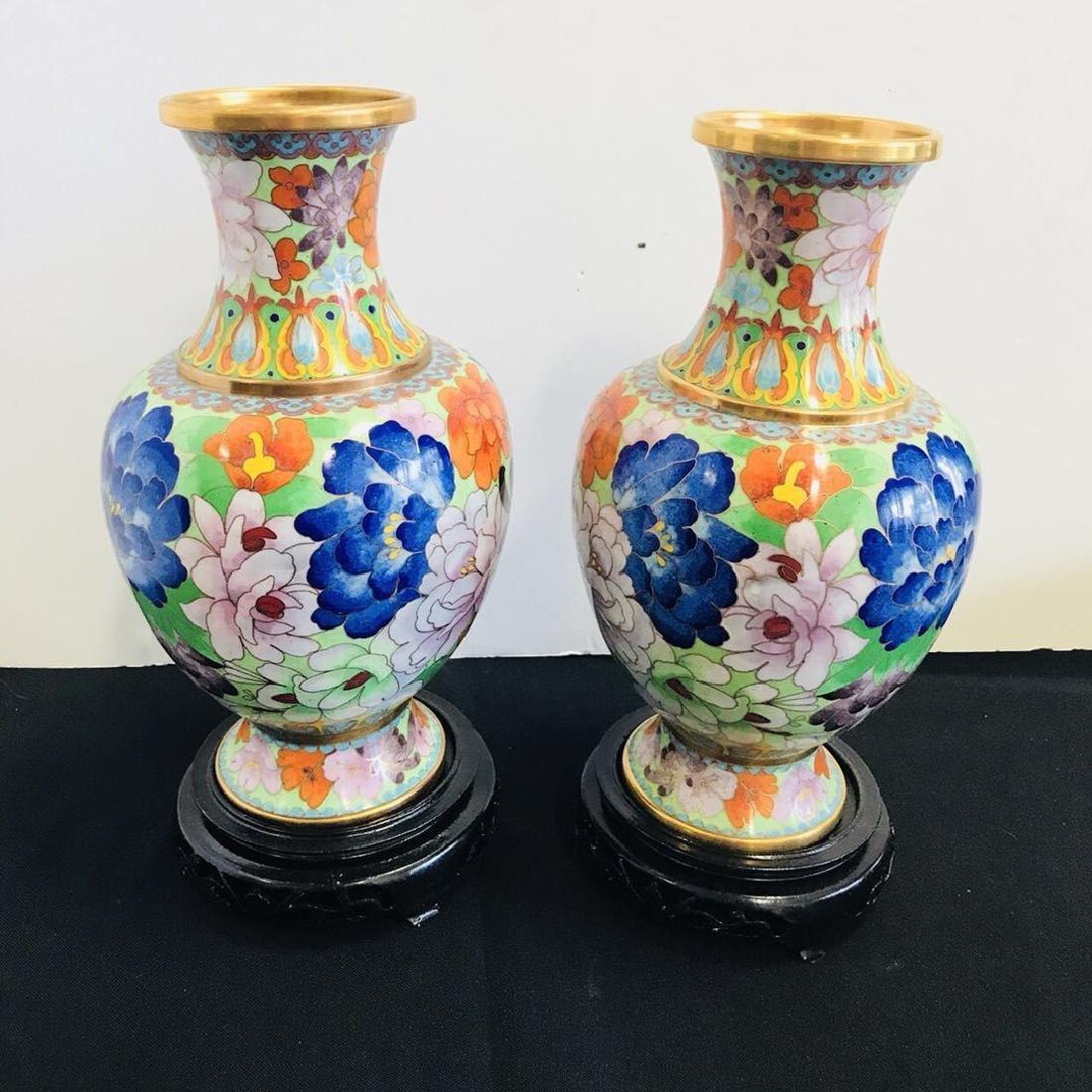 Pair of Cloisonne Enamel Porcelain Vase