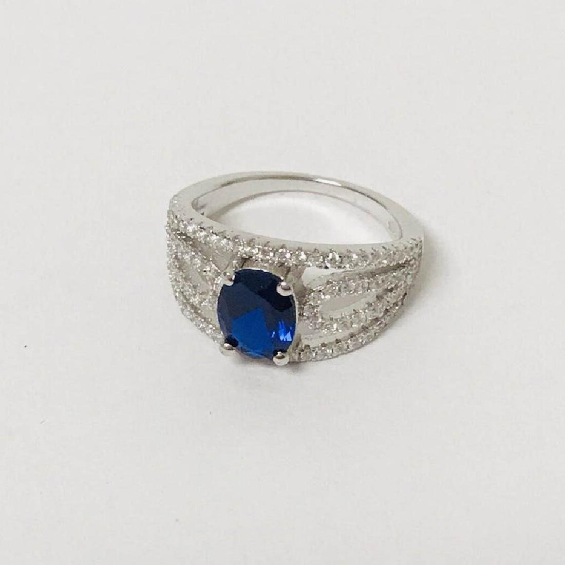 925 Silver with Blue Gem Stone Ring