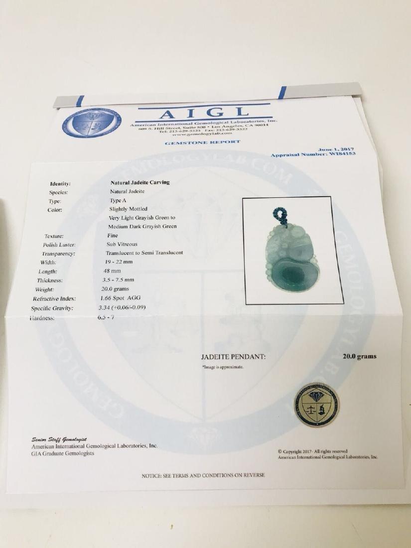 Certified Natural Burma Icy Jadeite Pendant - 3