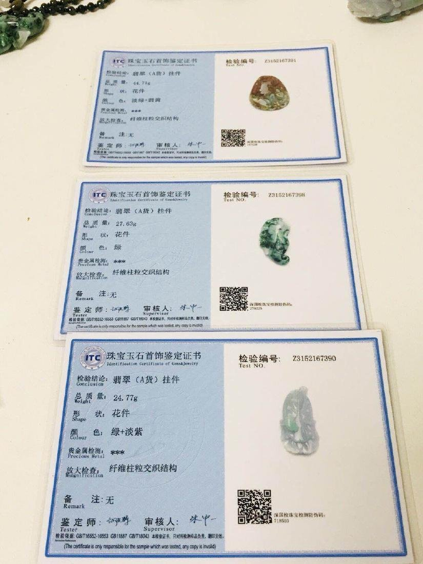 Three Items: Certified Natural Burma Jadeite Pendant - 6