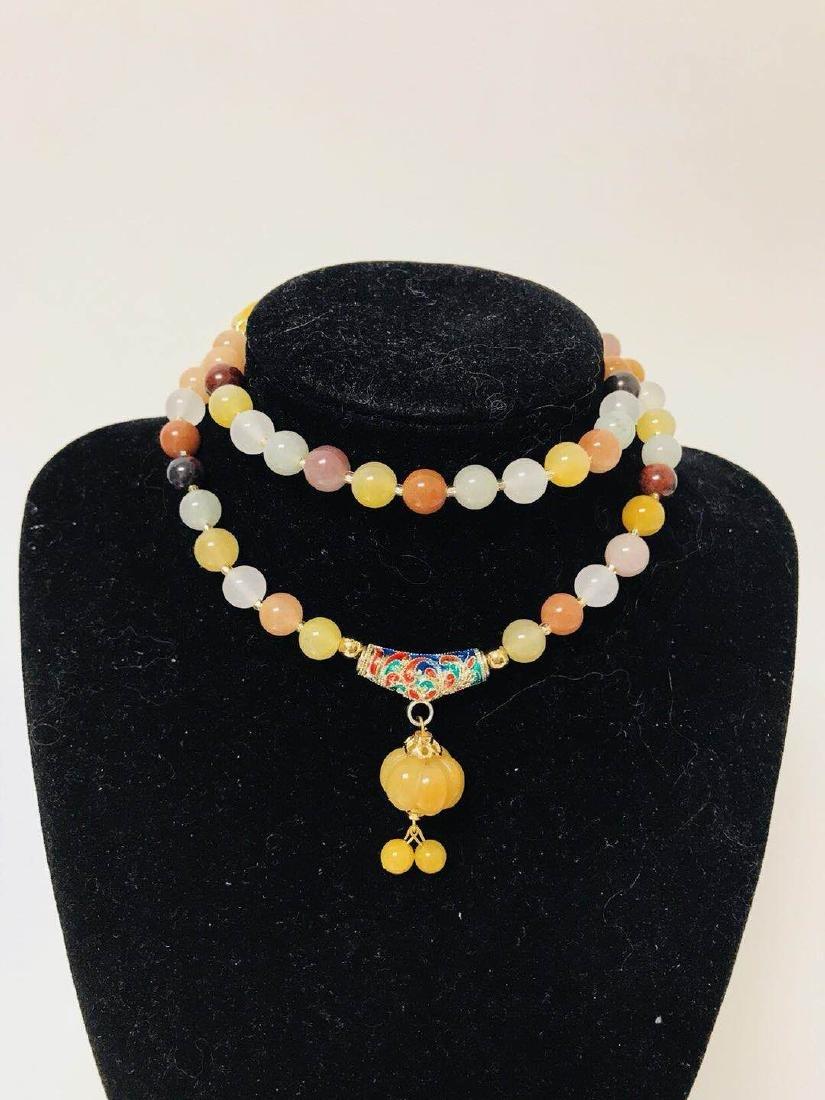 Natural Chicken Blood Jade Bead Necklace