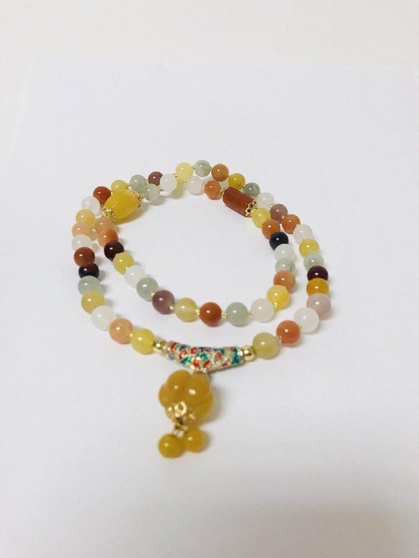 Natural Chicken Blood Jade Bead Necklace - 2
