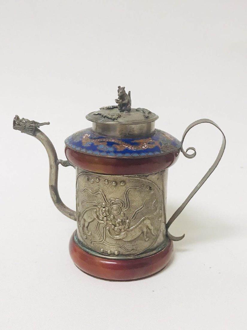 Teapot Cloisonne ; silver