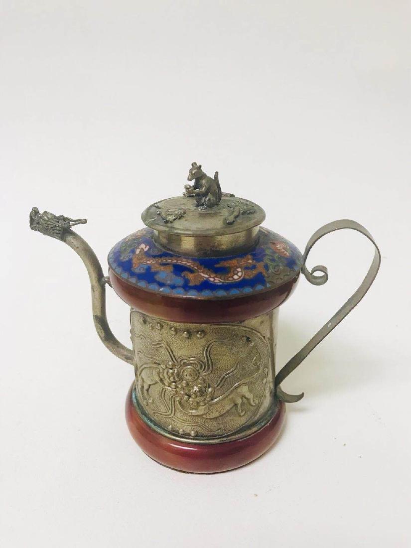 Teapot Cloisonne ; silver - 2