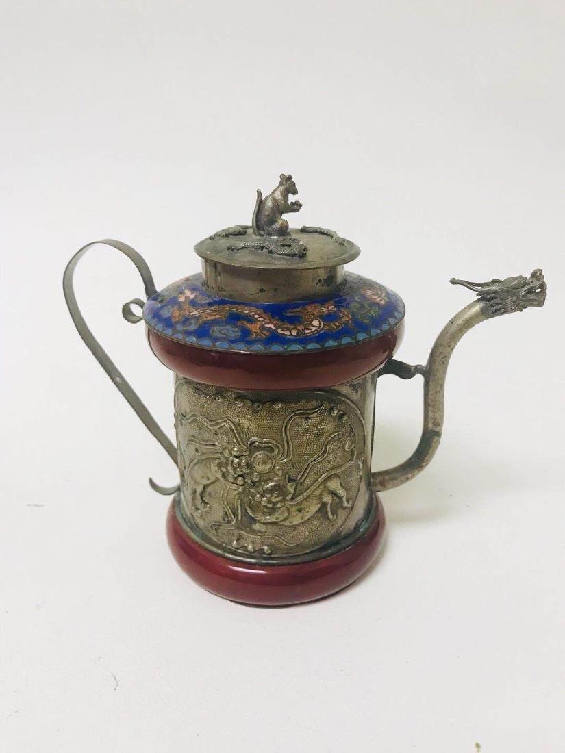 Teapot Cloisonne ; silver - 3