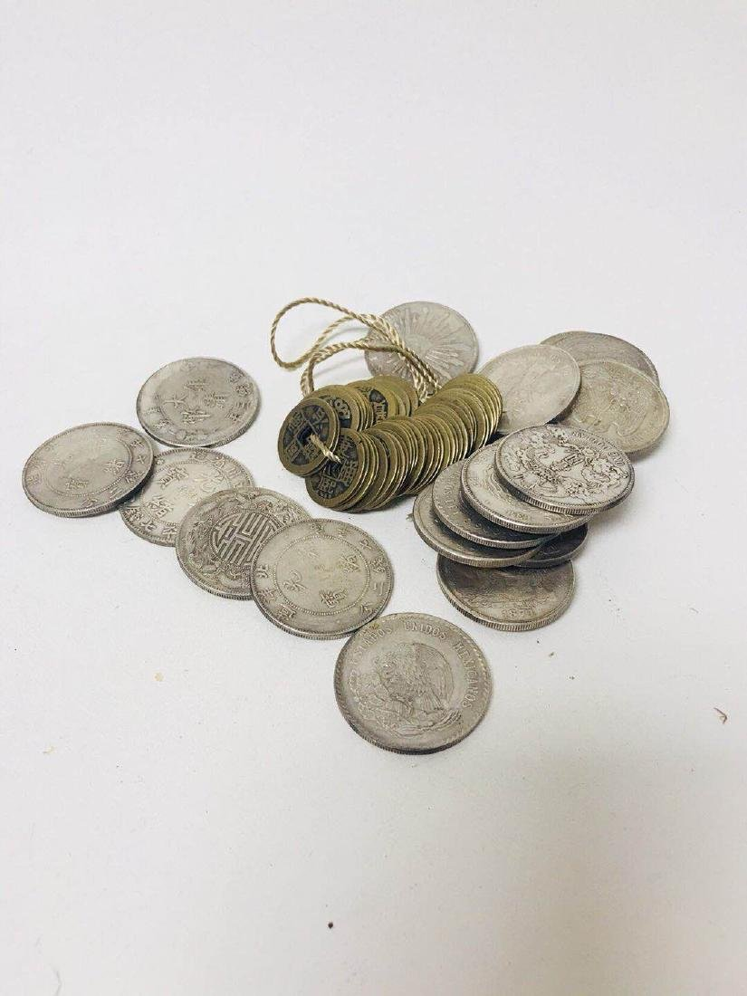 Pile of Old Coins and bronze Coin
