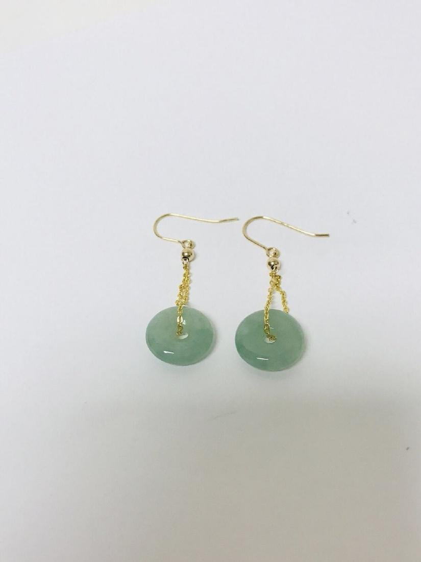 Certified 14kG Jadeite Safety Pin Style Earring
