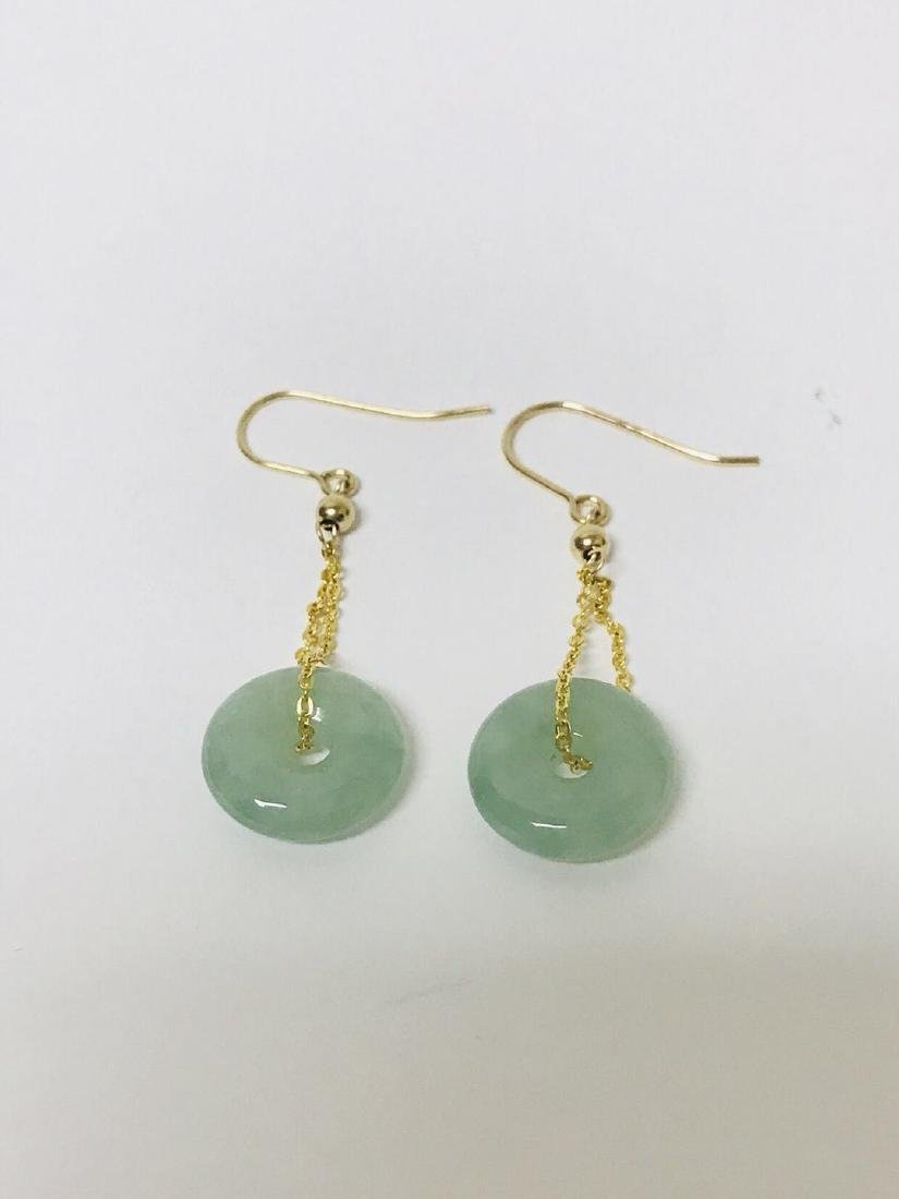 Certified 14kG Jadeite Safety Pin Style Earring - 2