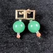 PAIR OF NATURAL FULL GREEN JADE EARRINGS