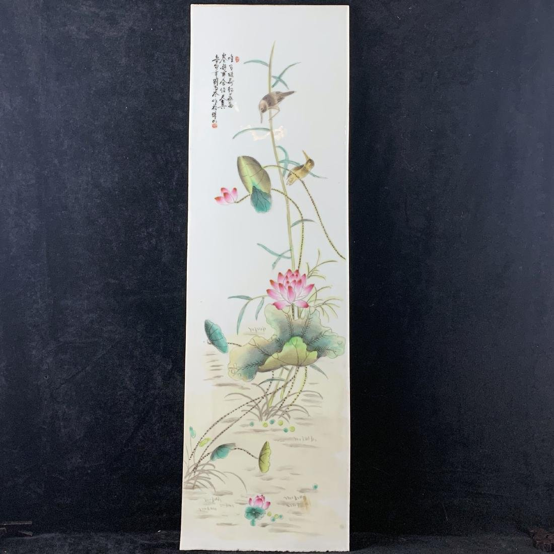 PORCELAIN LOTUS AND BIRDS PAINTING
