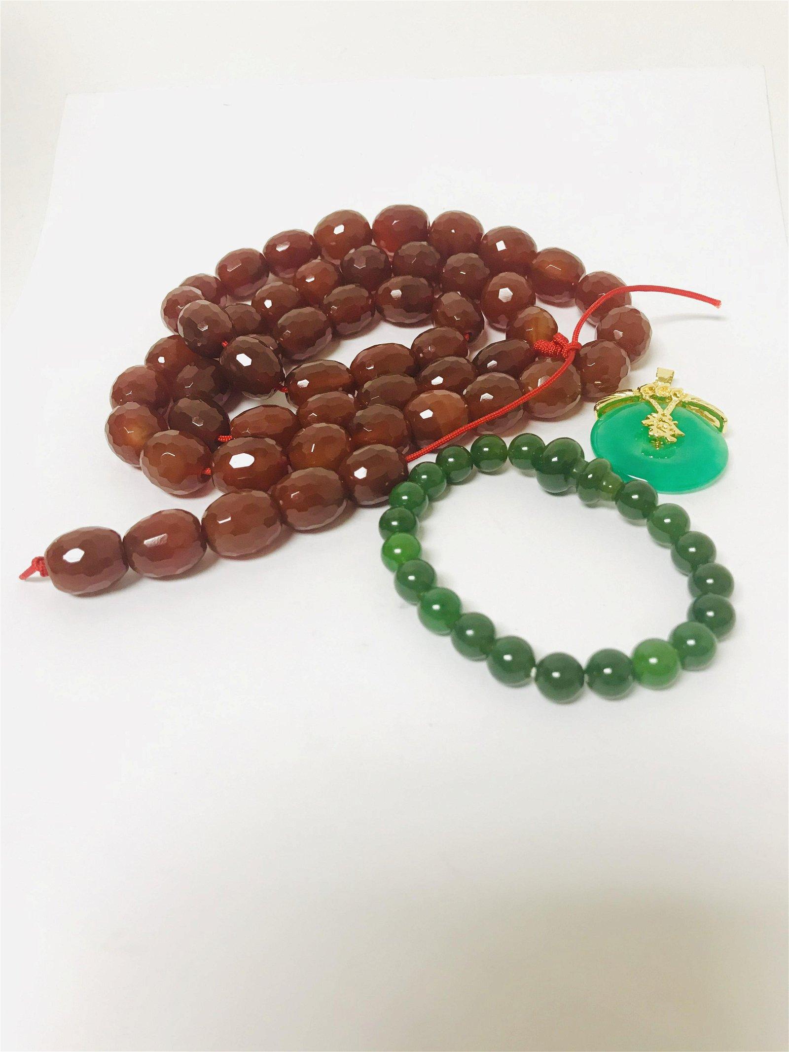 Hetian jasper bracelet,Agate necklace and green jade