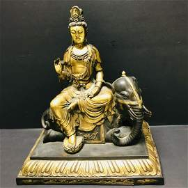 Copper Gilded Elephant-riding Guanyin Statue (Marked: