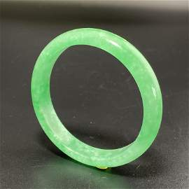 CertifliedNatural ICY green Jadeite bangle