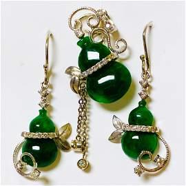 Set of 18K Gold Natural Burma Jade Diamond Set Earrings