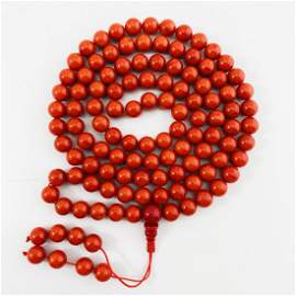 Certified Natural Coral Buddha Round 108 Beads Necklace