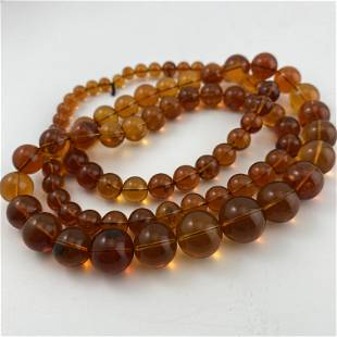 Golden Blue Amber Necklace