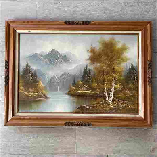Large Autumn Landscape Oil Painting