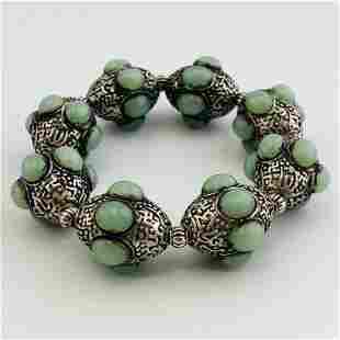 Old Cyan Jade Sterling Silver Beads Bracelet
