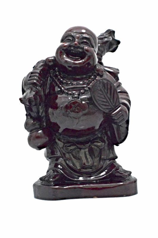 Wood Carved Laughing Buddha