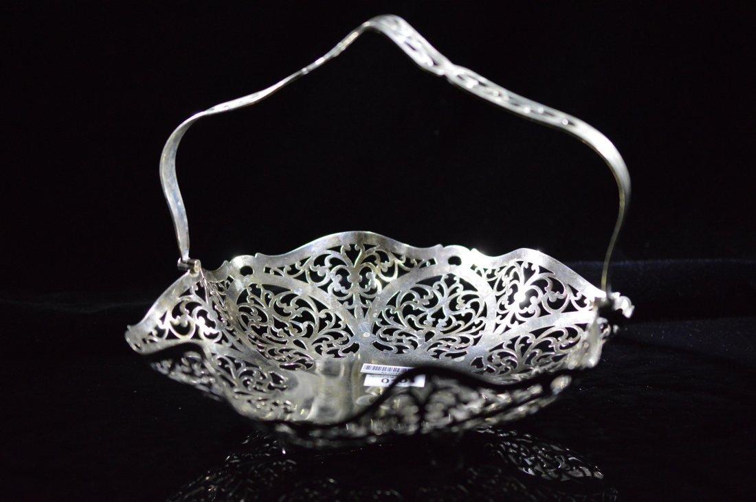 Ornate European Floral Pattern Metalwork Basket